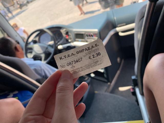 precio boleto de bus desde fira santorini al puerto nuevo de athinios