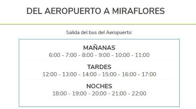 Cuáles son los horarios de buses desde el aeropuerto de Lima hacia la ciudad con Airport Express Lima