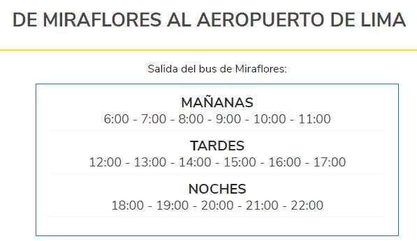 Cuáles son los horarios de buses desde Miraflores al aeropuerto de Lima con Airport Express Lima