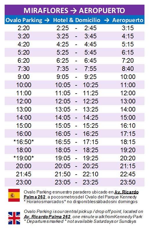 horarios quickllama desde miraflores hacia el aeropuerto de lima