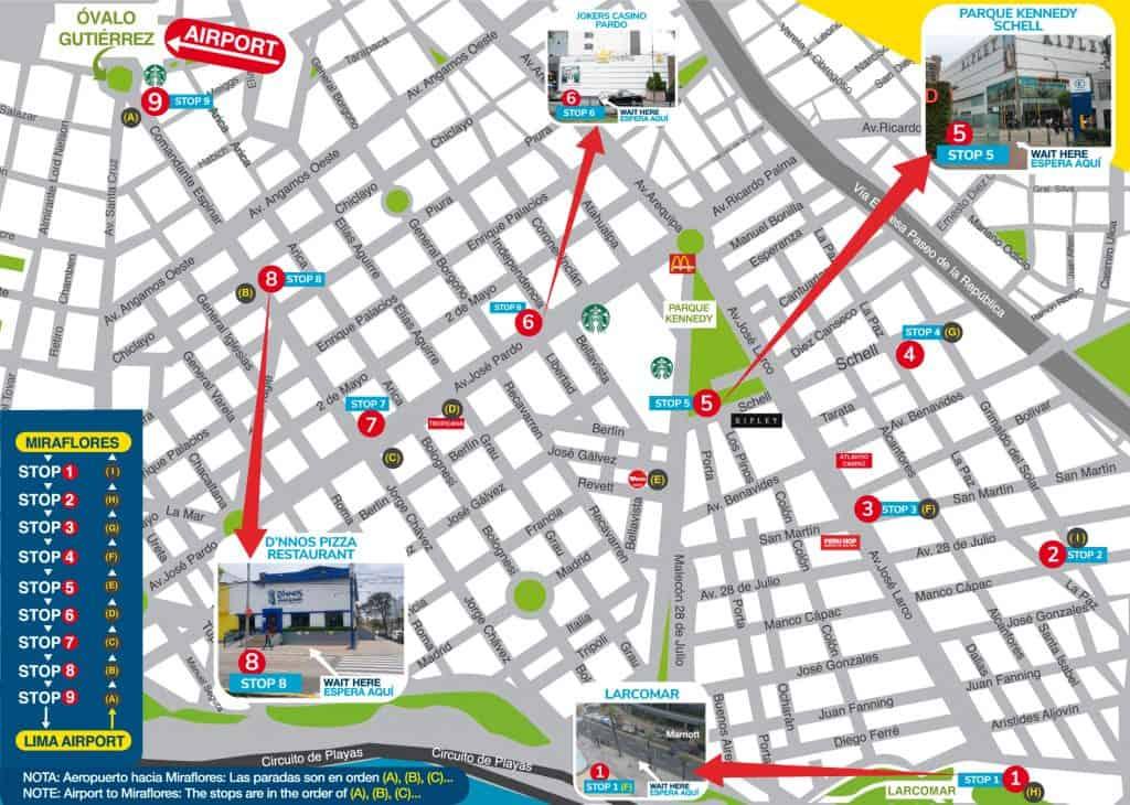 paradas donde tomar airport express lima en la ciudad de lima
